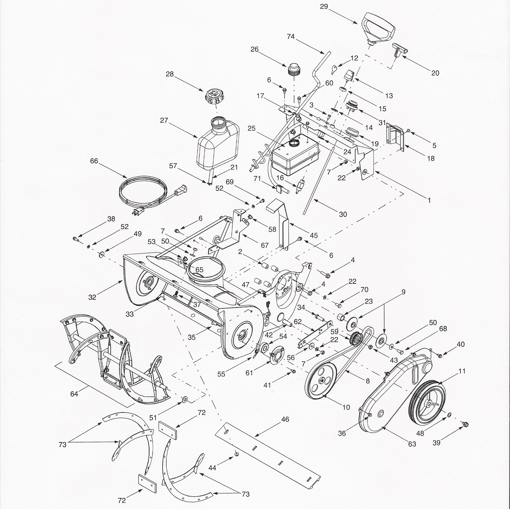 Deck Assembly in addition How To Rebuild A Tecumseh Carburetor moreover 234024117 in addition Craftsman Tiller Starter Rope likewise Cub Cadet Snow Thrower Parts Diagram. on troy bilt mower diagram